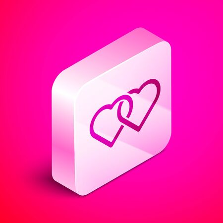 Isometric Two Linked Hearts icon isolated on pink background. Romantic symbol linked, join, passion and wedding. Valentine day. Silver square button. Vector Illustration