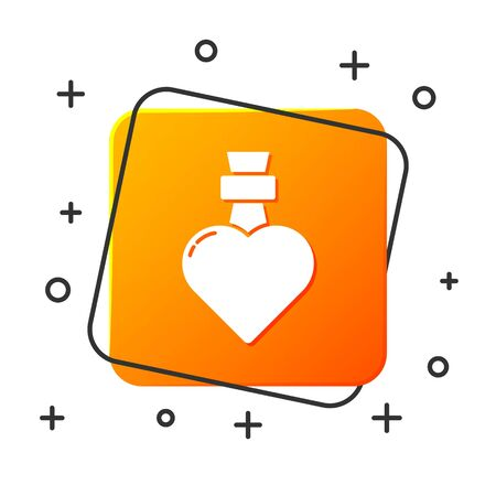 White Bottle with love potion icon isolated on white background. Valentines day symbol. Orange square button. Vector Illustration
