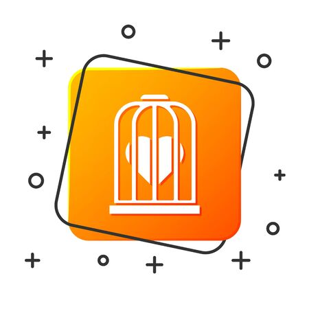 White Heart in the bird cage icon isolated on white background. Love sign. Valentines symbol. Orange square button. Vector Illustration