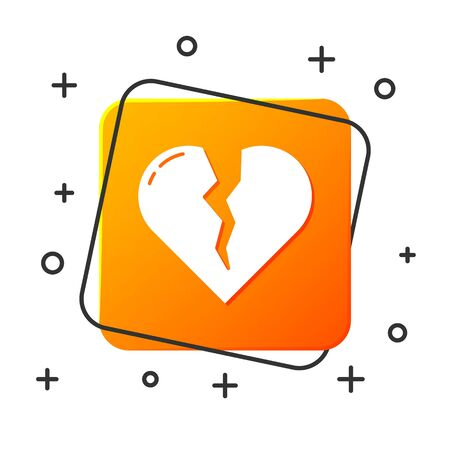White Broken heart or divorce icon isolated on white background. Love symbol. Valentines day. Orange square button. Vector Illustration