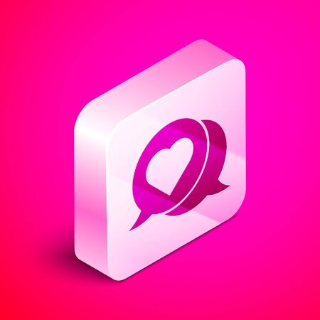 Isometric Heart in speech bubble icon isolated on pink background. Silver square button. Vector Illustration Ilustração