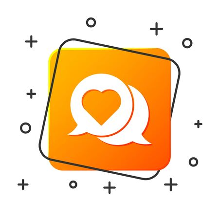 White Heart in speech bubble icon isolated on white background. Orange square button. Vector Illustration Ilustração