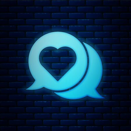 Glowing neon Heart in speech bubble icon isolated on brick wall background. Vector Illustration Ilustração