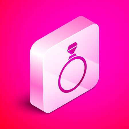Isometric Diamond engagement ring icon isolated on pink background. Silver square button. Vector Illustration