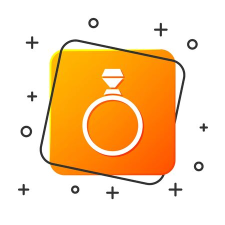 White Diamond engagement ring icon isolated on white background. Orange square button. Vector Illustration