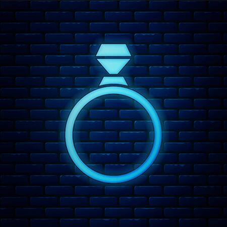 Glowing neon Diamond engagement ring icon isolated on brick wall background. Vector Illustration 向量圖像