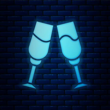 Glowing neon Glass of champagne icon isolated on brick wall background. Vector Illustration Illustration