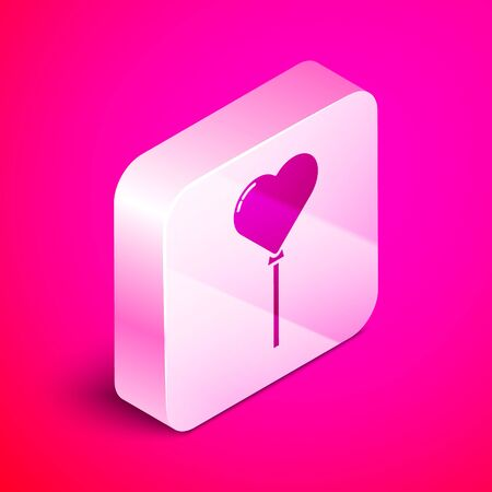 Isometric Balloons in form of heart with ribbon icon isolated on pink background. Silver square button. Vector Illustration 向量圖像