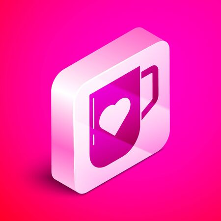 Isometric Coffee cup and heart icon isolated on pink background. Couple coffee for lovers on Valentines Day. Silver square button. Vector Illustration Vektoros illusztráció