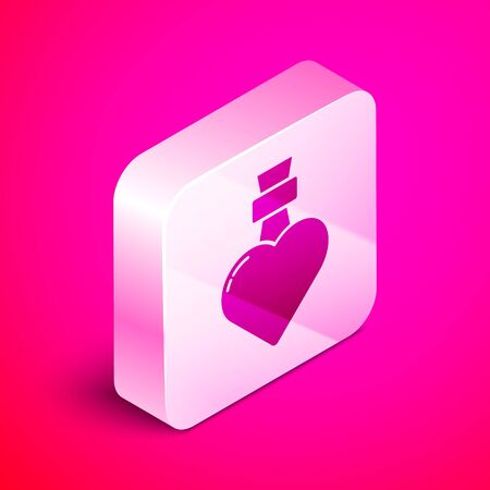 Isometric Bottle with love potion icon isolated on pink background. Valentines day symbol. Silver square button. Vector Illustration Illustration