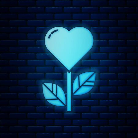 Glowing neon Heart shape in a flower icon isolated on brick wall background. Vector Illustration