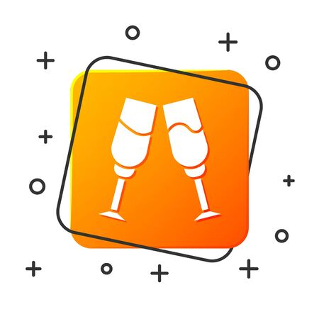 White Glass of champagne icon isolated on white background. Orange square button. Vector Illustration
