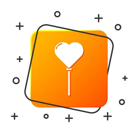 White Balloons in form of heart with ribbon icon isolated on white background. Orange square button. Vector Illustration 向量圖像
