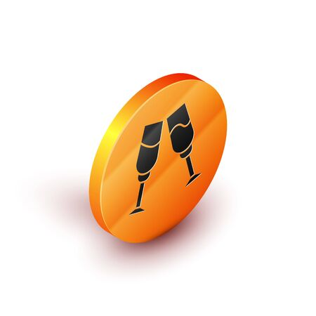 Isometric Glass of champagne icon isolated on white background. Orange circle button. Vector Illustration