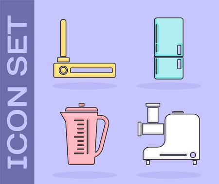 Set Kitchen meat grinder , Router and wifi signal , Measuring cup and Refrigerator icon. Vector Stock Illustratie