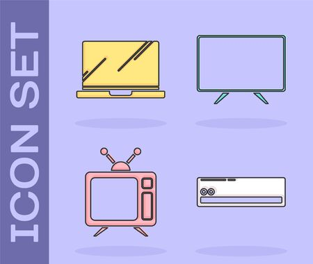 Set Air conditioner , Laptop , Television and Smart Tv icon. Vector