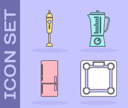Set Bathroom scales , Blender , Refrigerator  and Blender  icon. Vector Stock Illustratie