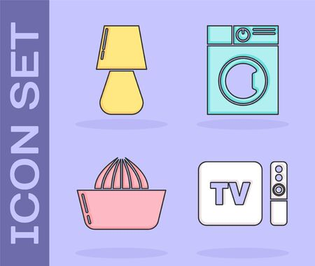 Set TV box receiver and player with remote controller , Table lamp , Citrus fruit juicer and Washer icon. Vector