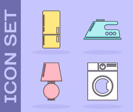 Set Washer , Refrigerator , Table lamp and Electric iron icon. Vector