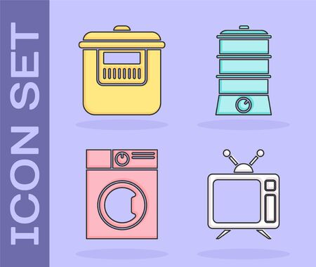 Set Television, Slow cooker , Washer and Double boiler icon. Vector