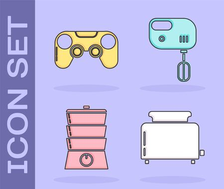 Set Toaster with toasts , Gamepad , Double boiler and Electric mixer icon. Vector
