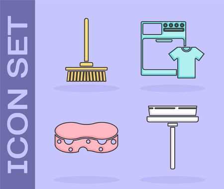 Set Squeegee, scraper, wiper, Mop , Sponge and Washer and t-shirt icon. Vector Ilustração