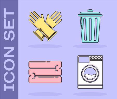 Set Washer , Rubber gloves , Towel stack and Trash can icon. Vector Ilustração