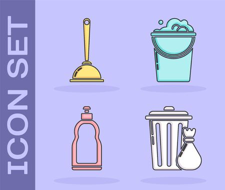 Set Trash can and garbage bag , Toilet plunger, Plastic bottles for liquid dishwashing liquid and Bucket with foam and bubbles icon. Vector