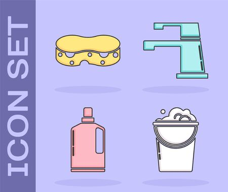 Set Bucket with foam and bubbles , Sponge , Plastic bottles for liquid dishwashing liquid and Water tap icon. Vector