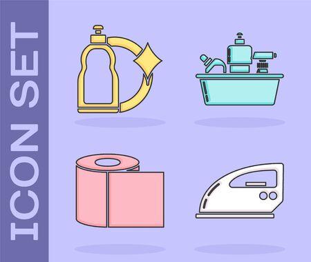 Set Electric iron , Plastic bottles for liquid dishwashing liquid, Toilet paper roll and Plastic bottles for liquid dishwashing liquid icon. Vector