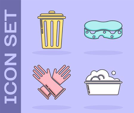 Set Plastic basin with soap suds , Trash can , Rubber gloves and Sponge icon. Vector