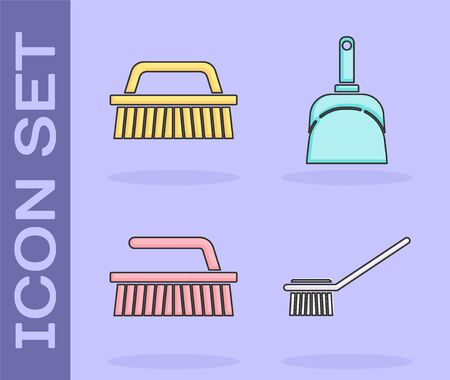 Set Toilet brush , Brush for cleaning , Brush for cleaning and Dustpan icon. Vector Çizim