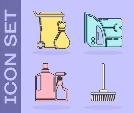 Set Mop , Trash can , Plastic bottles for liquid dishwashing liquid and Electric iron and towel icon. Vector