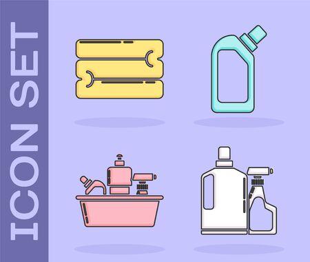 Set Towel stack , Plastic bottles for liquid dishwashing liquid icon. Vector Çizim