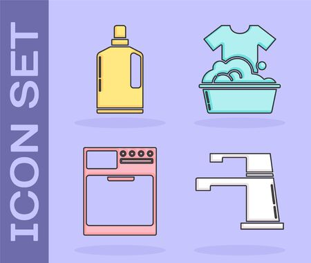 Set Water tap , Plastic bottles for liquid dishwashing liquid, Washer and Plastic basin with soap suds icon. Vector Ilustração