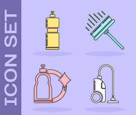 Set Vacuum cleaner , Plastic bottles for liquid dishwashing liquid, Plastic bottles for liquid dishwashing liquid and Squeegee, scraper, wiper icon. Vector Çizim