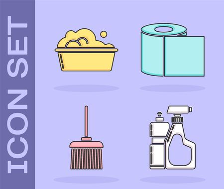 Set Plastic bottles for liquid dishwashing liquid, Plastic basin with soap suds , Handle broom and Toilet paper roll icon. Vector