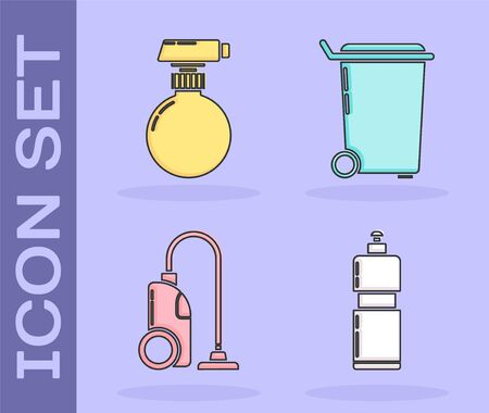 Set Plastic bottles for liquid dishwashing liquid, Cleaning spray bottle with detergent liquid , Vacuum cleaner and Trash can icon. Vector