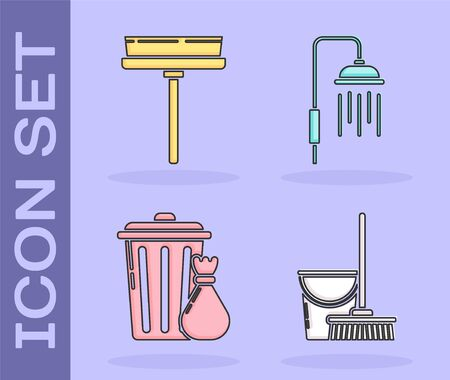 Set Mop and bucket , Squeegee, scraper, wiper, Trash can and garbage bag  and Shower head with water drops flowing  icon. Vector 일러스트