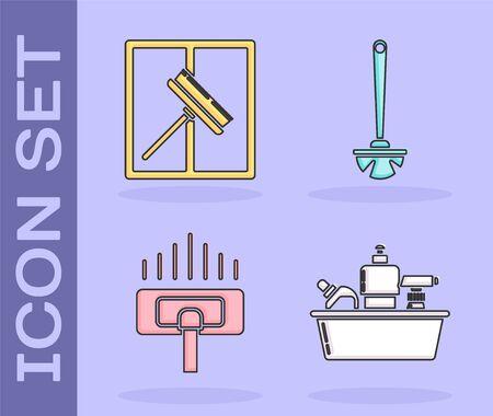Set Plastic bottles for liquid dishwashing liquid, Squeegee, scraper, wiper, Vacuum cleaner and Toilet brush  icon. Vector