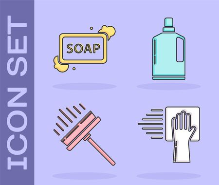 Set Cleaning service , Bar of soap with foam , Squeegee, scraper, wiper and Plastic bottles for liquid dishwashing liquid icon. Vector 일러스트