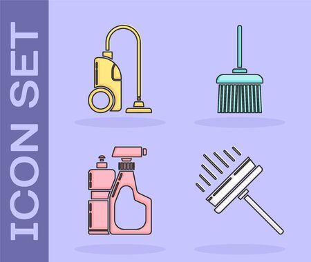 Set Squeegee, scraper, wiper, Vacuum cleaner , Plastic bottles for liquid dishwashing liquid and Handle broom  icon. Vector
