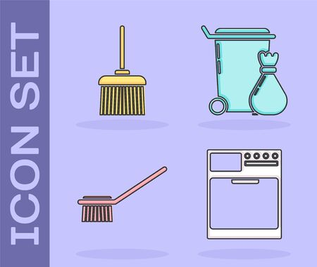 Set Washer , Handle broom , Toilet brush  and Trash can  icon. Vector