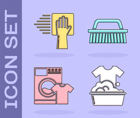 Set Plastic basin with soap suds , Cleaning service , Washer and t-shirt  and Brush for cleaning  icon. Vector