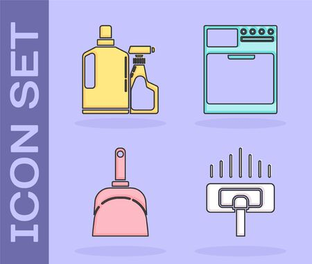 Set Vacuum cleaner, Plastic bottles for liquid dishwashing liquid, Dustpan  and Washer  icon. Vector