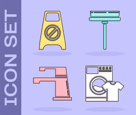 Set Washer and t-shirt , Wet floor and cleaning in progress , Water tap  and Squeegee, scraper, wiper icon. Vector