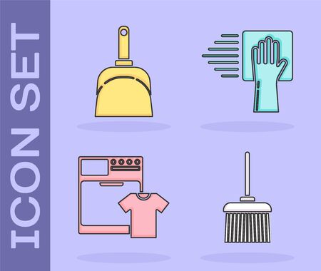 Set Handle broom , Dustpan , Washer and t-shirt  and Cleaning service  icon. Vector