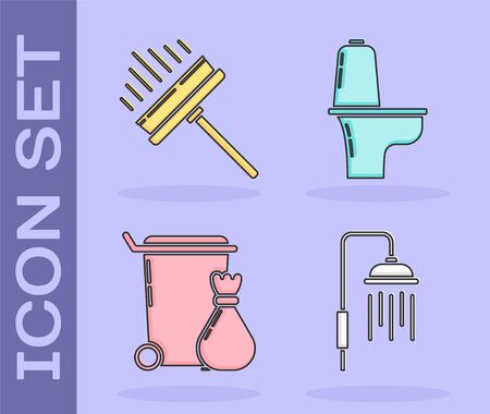 Set Shower head with water drops flowing , Squeegee, scraper, wiper, Trash can  and Toilet bowl  icon. Vector