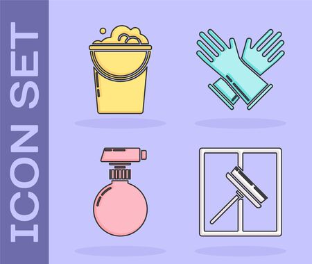 Set Squeegee, scraper, wiper, Bucket with foam and bubbles , Cleaning spray bottle with detergent liquid  and Rubber gloves  icon. Vector