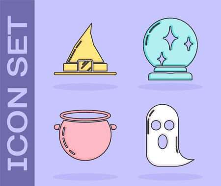Set Ghost , Witch hat , Halloween witch cauldron  and Magic ball  icon. Vector